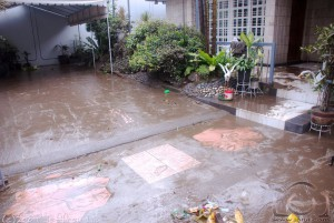 Mud-covered driveway